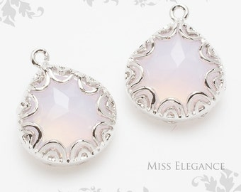 2 pcs Pearl Pink  Faceted Glass Stone Pendants, Rhodium Plated over Brass Unique Jewelry Findings  // 16mm x 13mm // G02-40B-BR