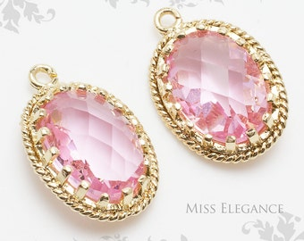 2pcs Pink Oval Faceted Glass Stone Pendants, Gold Plated Over Brass Unique Jewelry Findings  //  13mm x 17mm // G9002-MG