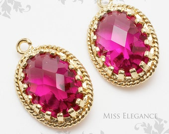 2pcs Ruby Oval Faceted Glass Stone Pendants, Gold Plated Over Brass Unique Jewelry Findings  //  13mm x 17mm // G9002-MG