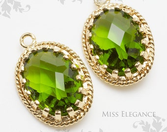 2pcs Apple Green Oval Faceted Glass Stone Pendants, Gold Plated Over Brass Unique Jewelry Findings  //  13mm x 17mm // G9002-MG