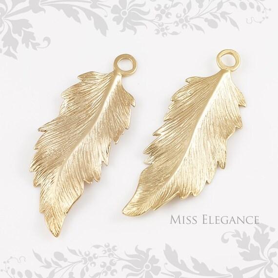 BULK SALE 10 pcs Feather Pendants, Matte Gold Finish Unique Jewelry Findings // 57mm x 22mm // 1009-MG