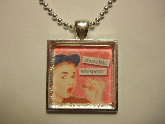 Funny Glass Tile Pendant For Chocolate Lovers