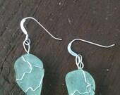 Aqua Seaglass Sterling Earrings