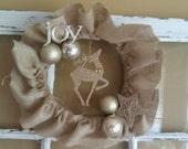 Burlap Ruffle Wreath with Reindeer