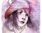 Thinking of You---Mixed Media---8 x 8 Comic Portrait Fine Art Print