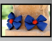 Two Simple and Sweet Royal Blue and Shimmer Red Pom Pom Mini Double Bow Alligator Clips