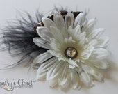 White Daisy Flower Hair Clip with Feather and Cheetah Print Ribbon. Baby Girl to Adult. Handmade