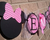 Minnie Mouse Inspired Name Banner Hot Pink With White Polka Dot and Black