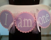 I Am One High Chair Banner Lavender and Pink