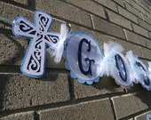 God Bless Banner in Light Blue Dark Blue and Gray Baptism Communion Christening