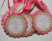 Bright PInk and Green Favor Tags with Polka Dots Set of 12