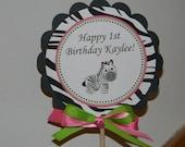 Hot Pink Lime Green and Zebra Centerpiece Decoration Stick QTY 1