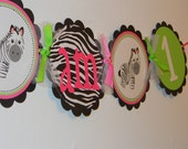 Hot Pink Zebra and Lime Green I am 1 High Chair Banner