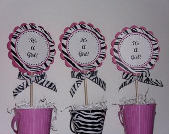 Its A Girl Hot Pink and Zebra Centerpiece Decoration Picks-Set of 3