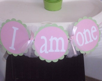 I Am One High Chair Banner-Light Pink and Green