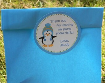 2.5 inch Favor Stickers Winter ONEderland Penguin QTY 12