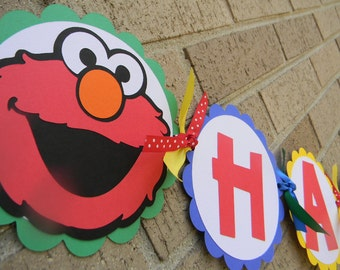 Elmo Inspired Happy Birthday Banner Primary Colors