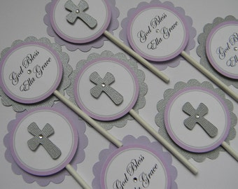 God Bless Cupcake Toppers Qty 12 Lavender and Silver