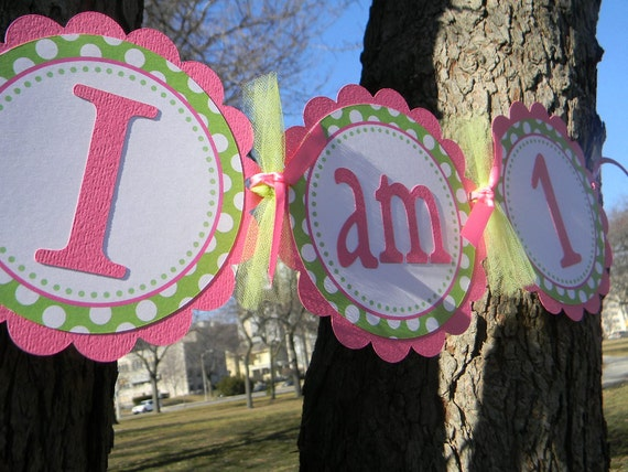 Bright Pink and Green with Polka Dots I Am One Hih Chair Banner