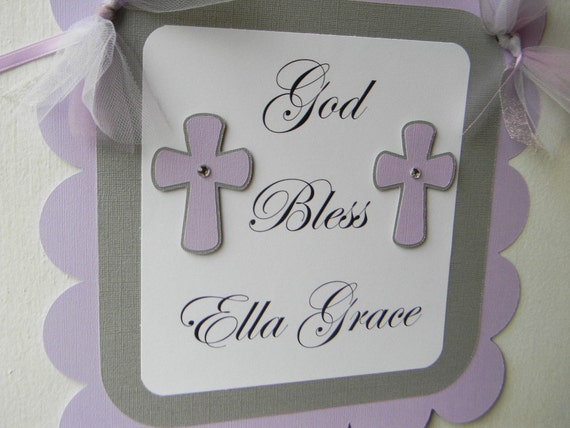 God Bless Door Sign Lavender and Silver