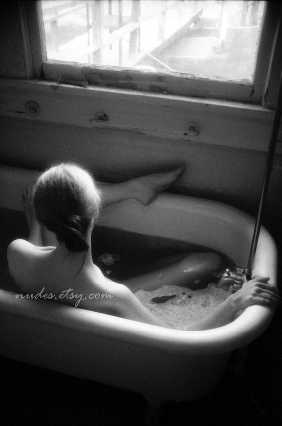 Bath at Window - Black and White Fine Art Nude Photography - Fine Art Print