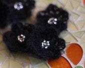 Silky Crochet Flowers Black Beaded 80% Baby Kid Mohair Small 6 Petals