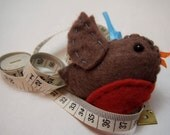 Spring robin felt plushie ornament - Bobbi (the brown felt robin)