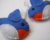 Bird felt plushie ornaments (2) - Bluebirds Sam and Taylor