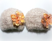 ready to ship,2 baby girl twin knitted beanie hats with removable clips,twin hats,newborn photography prop, baby beanie