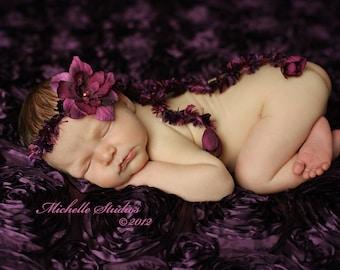 newborn baby photography prop-crocheted plum purple halo headband  flower,baby shower gift,baby photo prop,crocheted halo,photography prop