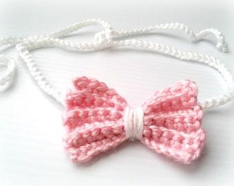 WHITE PINK baby girl crocheted bow halo headband, newborn photography prop,baby shower gift