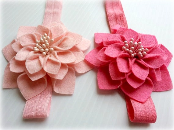 set of two twin newborn baby girl matching headbands pink and fushia felt flowers-newborn photography prop or everyday use-baby shower gift