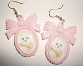 White Kitten Cameo Earrings