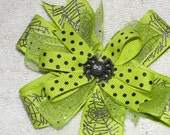 Black Spider sits in the center of this Halloween Hair bow with triple layers on a double prong clip