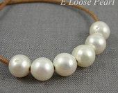 AA White Freshwater Pearls Natural Large Hole Pearl 9.5-10.5mm 10 Pieces Round Potato Pearl 2mm Hole