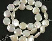 Genuine Freshwater Coin Pearls White Good Quality loose pearls 13-14mm 29pcs Bridal design wedding Full Strand Item No : PL4018