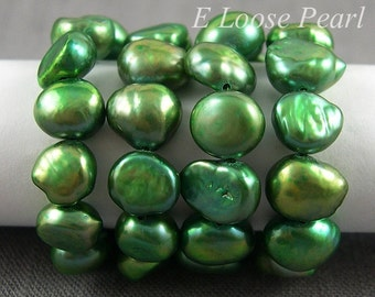Pebble pearls Large Hole pearl Freshwater Pearl Baroque pearl Potato loose pearl green 7.5-8.5mm 48pcs Full Strand Item No : PL3020