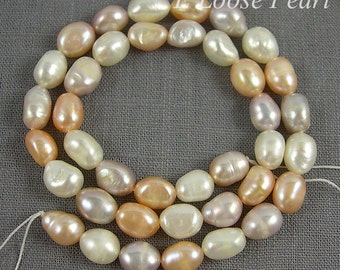 Baroque pearl Large hole pearl Freshwater Pearl,Potato pearl loose pearl Baroque pearl necklace Mixed Color 7.5-8.5mm Full Strand PL3025