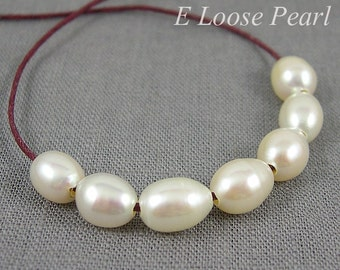 Rice Pearl,Large hole Freshwater Pearls,Rice pearl necklace,Large hole Rice Pearl white 7.0-7.5mm 10 Pieces