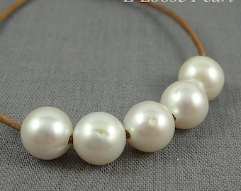 White Freshwater Pearls Nugget Large Hole Pearl loose beads 11.5-12.0mm 5 Pieces Round Potato Pearl 2mm Hole