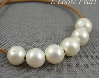 AA Round Potato Pearl leather pearl Large Hole Pearl Freshwater Pearls Natural pearl necklace 9.5-10.5mm White 10 Pieces 2mm Hole