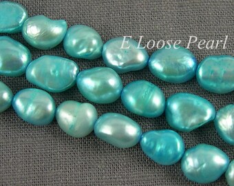 Baroque pearl Large hole pearl Freshwater Pearl Pebble Loose pearl Baroque pearl necklace Turquoise Blue 7.5-8.5mm 35pcs Full Strand PL3045