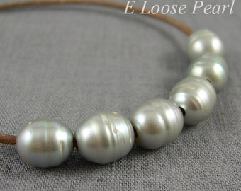 Rice Pearl Large Hole Pearl Freshwater Pearls wholesale pearl 10-10.5mm X 11-12mm 10 Pieces Gray 2.3mm Hole