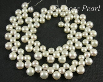 Freshwater Pearl Button Shape Top Drilled dancing Three row Button pearl necklace White 6.5-8.5mm 14.9 inches Full Strand PL1085