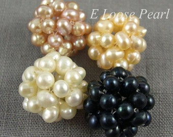 DIY Natural Cluster Ball Freshwater Pearl Potato Pearl loose pearls Cluster Ball Necklace peach 17mm 2pcs Bridal design wedding