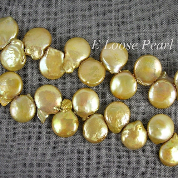 Top Drilled Coin Shape Loose Pearl Champagne Color Freshwater pearls 12.5-14mmX16-19mm 43pc Full Strand Item No : PL4007