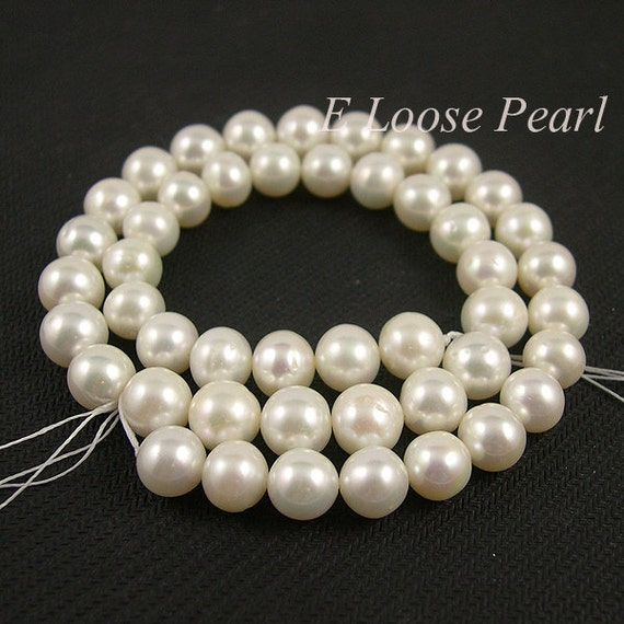 Loose Pearl Beads Natural White Round Potato pearl Freshwater Pearl 8.5-9.5mm 45pcs Full Strand Item No : PL2025