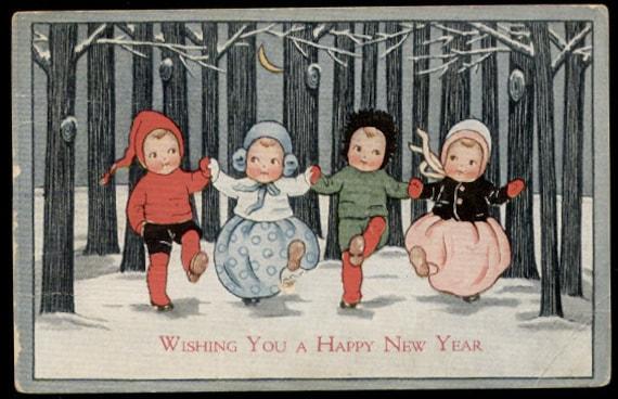 Items similar to Vintage 1916 Greeting Postcard Kids in ... Vintage New Years Images