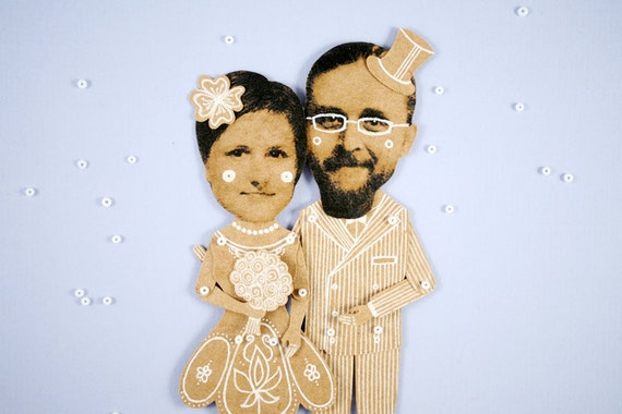 Personalized Wedding Articulated Paper Dolls by Dubrovskaya. Unique gift. Send me the pictures and enjoy )