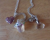 gorgeous handmade long chain shabby chic cupcake heart charm necklace by jordan